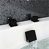 Arezzo Square Matt Black Deck Bath Side Valves with Freeflow Bath Filler profile small image view 1
