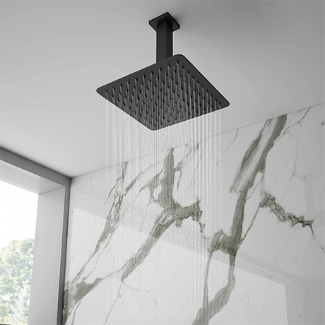 Arezzo Matt Black 200 x 200mm Thin Square Shower Head + Ceiling Mounted Arm