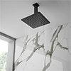 Arezzo Matt Black 200 x 200mm Thin Square Shower Head + Ceiling Mounted Arm profile small image view 1
