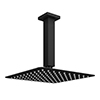 Arezzo Matt Black 200 x 200mm Thin Square Shower Head + Ceiling Mounted Arm profile small image view 1
