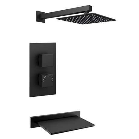 Arezzo Square Matt Black 2 Outlet Shower System (Fixed Shower Head + Slimline Waterfall Bath Spout)