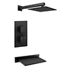 Arezzo Square Matt Black 2 Outlet Shower System (Fixed Shower Head + Slimline Waterfall Bath Spout) profile small image view 1