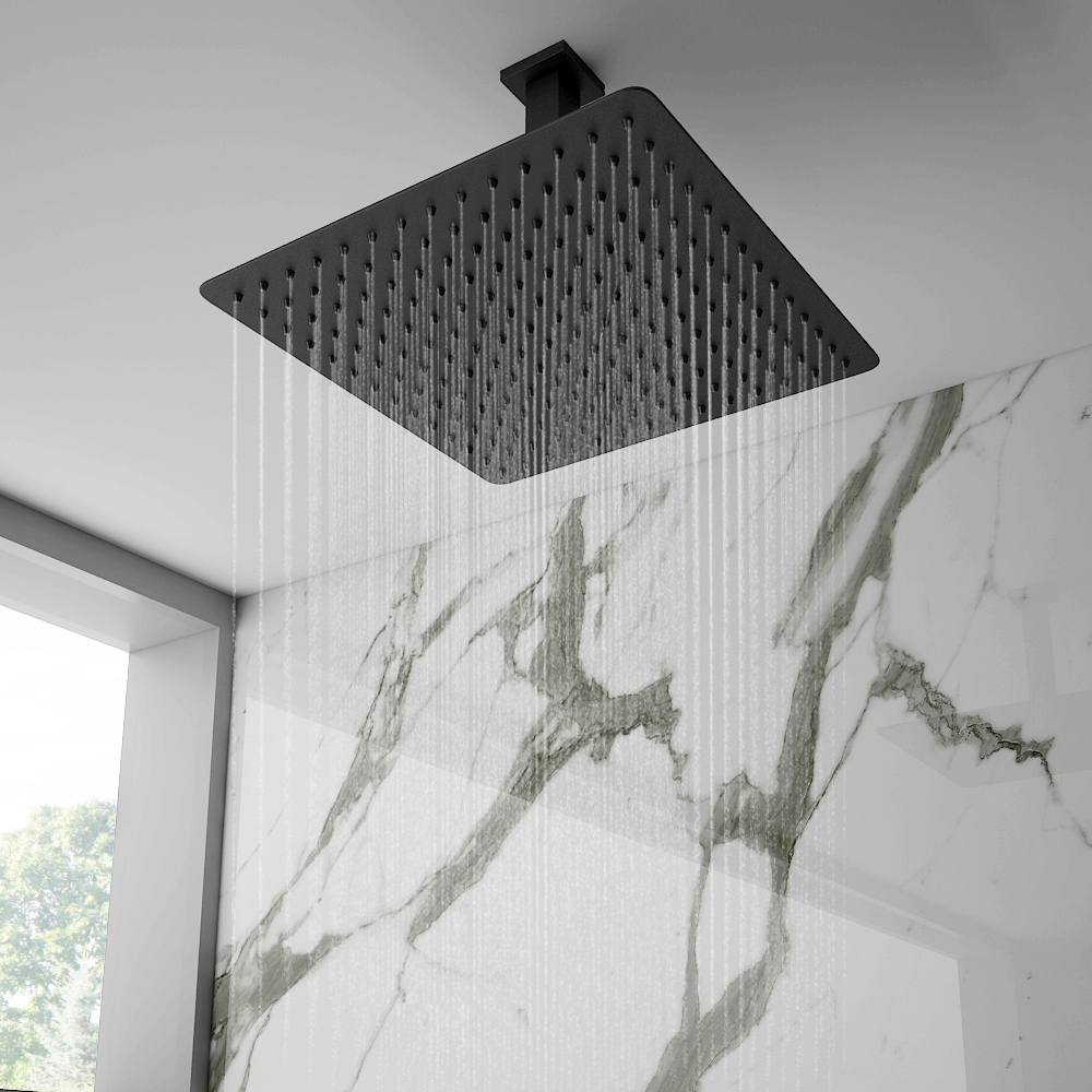 Arezzo Matt Black 300 x 300mm Thin Square Shower Head + Ceiling Mounted Arm