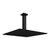 Arezzo Matt Black 300 x 300mm Thin Square Shower Head + Ceiling Mounted Arm profile small image view 1