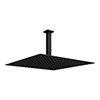 Arezzo Matt Black 400 x 400mm Thin Square Shower Head + Ceiling Mounted Arm profile small image view 1