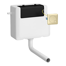 Arezzo Concealed WC Cistern inc. Brushed Brass Square Flush Plate