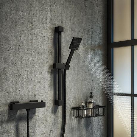 Arezzo Matt Black Square Thermostatic Bar Valve + Slide Rail Kit