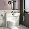 Brooklyn 1000 Gloss White Semi-Recessed Combination Unit (Round Basin, Vanity + WC Unit) profile small image view 1