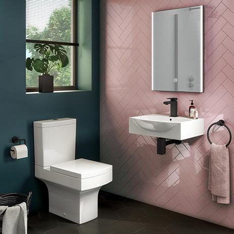 Arezzo Square Cloakroom Suite (Toilet + Basin)