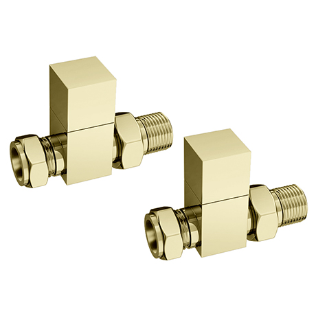 Arezzo Square Straight Radiator Valves - Brushed Brass