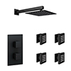Arezzo Matt Black Square Shower System with Diverter, Fixed Shower Head + 4 Body Jets profile small image view 1