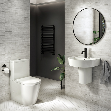 Arezzo 4-Piece Modern Bathroom Suite (Wall Hung Basin + Semi Pedestal)