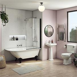 Arezzo Traditional Shower Bath Suite - 1700mm with Matt Black Screen + Leg Set