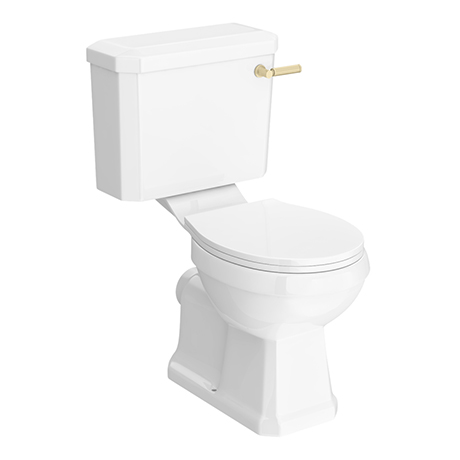 Arezzo Traditional Toilet with Brushed Brass Lever