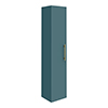 Arezzo Wall Hung Tall Storage Cabinet - Matt Teal Green - with Brushed Brass Chrome Handle profile small image view 1