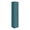 Arezzo Matt Green Wall Hung Tall Storage Cabinet with Brushed Brass Handle profile small image view 1