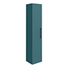 Arezzo Wall Hung Tall Storage Cabinet - Matt Teal Green - with Industrial Style Matt Black Handle profile small image view 1