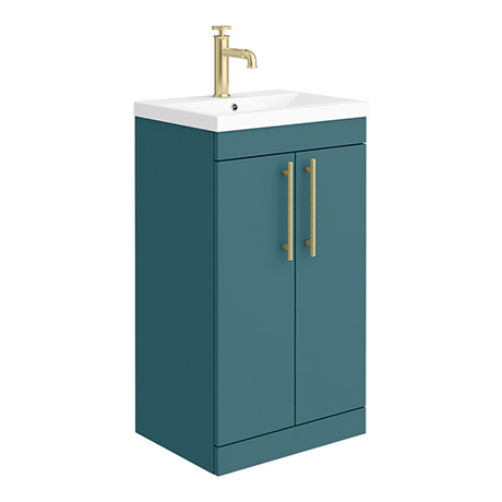 Arezzo Floor Standing Vanity Unit - Matt Green - 500mm with Industrial Style Brushed Brass Handles