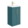 Arezzo Floor Standing Vanity Unit - Matt Green - 500mm with Industrial Style Brushed Brass Handles profile small image view 1