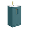 Arezzo 500 Matt Green Floor Standing Vanity Unit with Brushed Brass Handles profile small image view 1