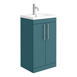 Arezzo Floor Standing Vanity Unit - Matt Green - 500mm with Industrial Style Chrome Handles
