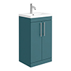Arezzo Floor Standing Vanity Unit - Matt Green - 500mm with Industrial Style Chrome Handles profile small image view 1
