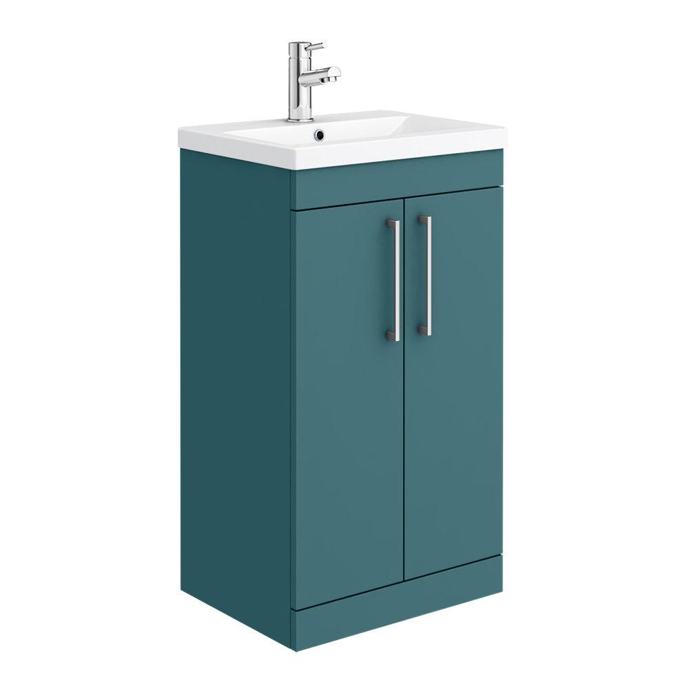 Arezzo 500 Matt Green Floor Standing Vanity Unit with Chrome Handles
