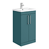 Arezzo 500 Matt Green Floor Standing Vanity Unit with Chrome Handles profile small image view 1