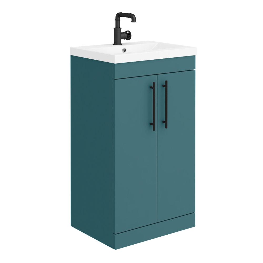 Arezzo Floor Standing Vanity Unit - Matt Green - 500mm with Industrial Style Black Handles