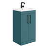 Arezzo Floor Standing Vanity Unit - Matt Green - 500mm with Industrial Style Black Handles profile small image view 1