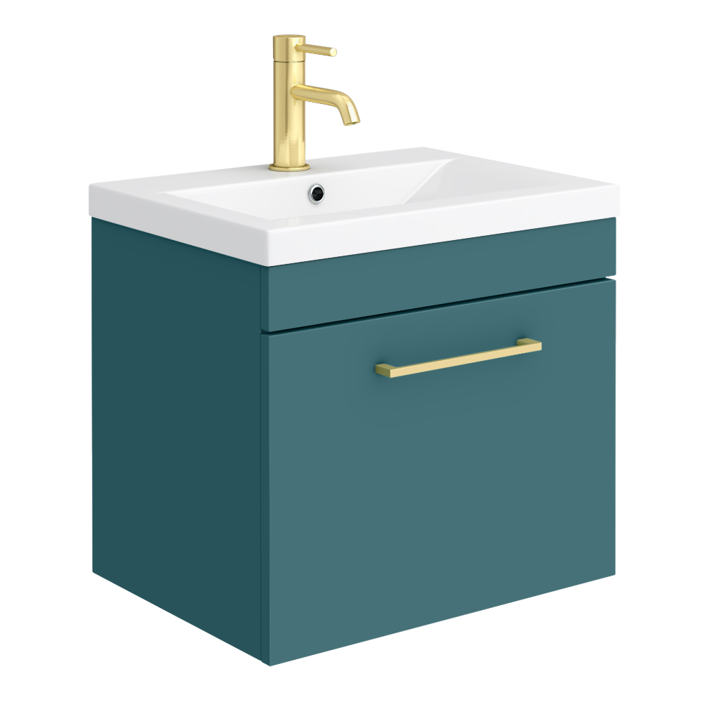 Arezzo Wall Hung Vanity Unit - Matt Green - 500mm 1-Drawer with Brushed Brass Handle