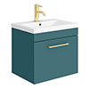 Arezzo Wall Hung Vanity Unit - Matt Green - 500mm 1-Drawer with Brushed Brass Handle profile small image view 1