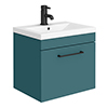 Arezzo Wall Hung Vanity Unit - Matt Green - 500mm 1-Drawer with Matt Black Handle profile small image view 1