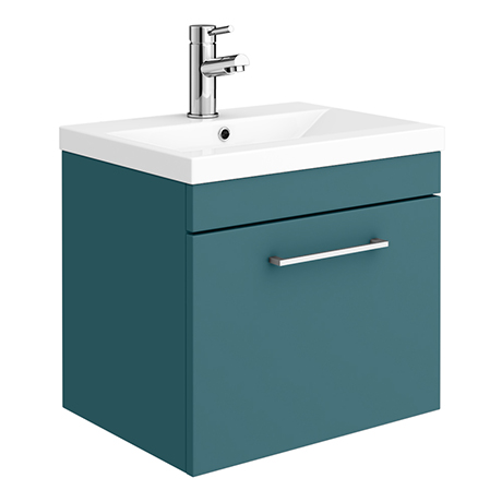 Arezzo Wall Hung Vanity Unit - Matt Green - 500mm 1-Drawer with Polished Chrome Handle