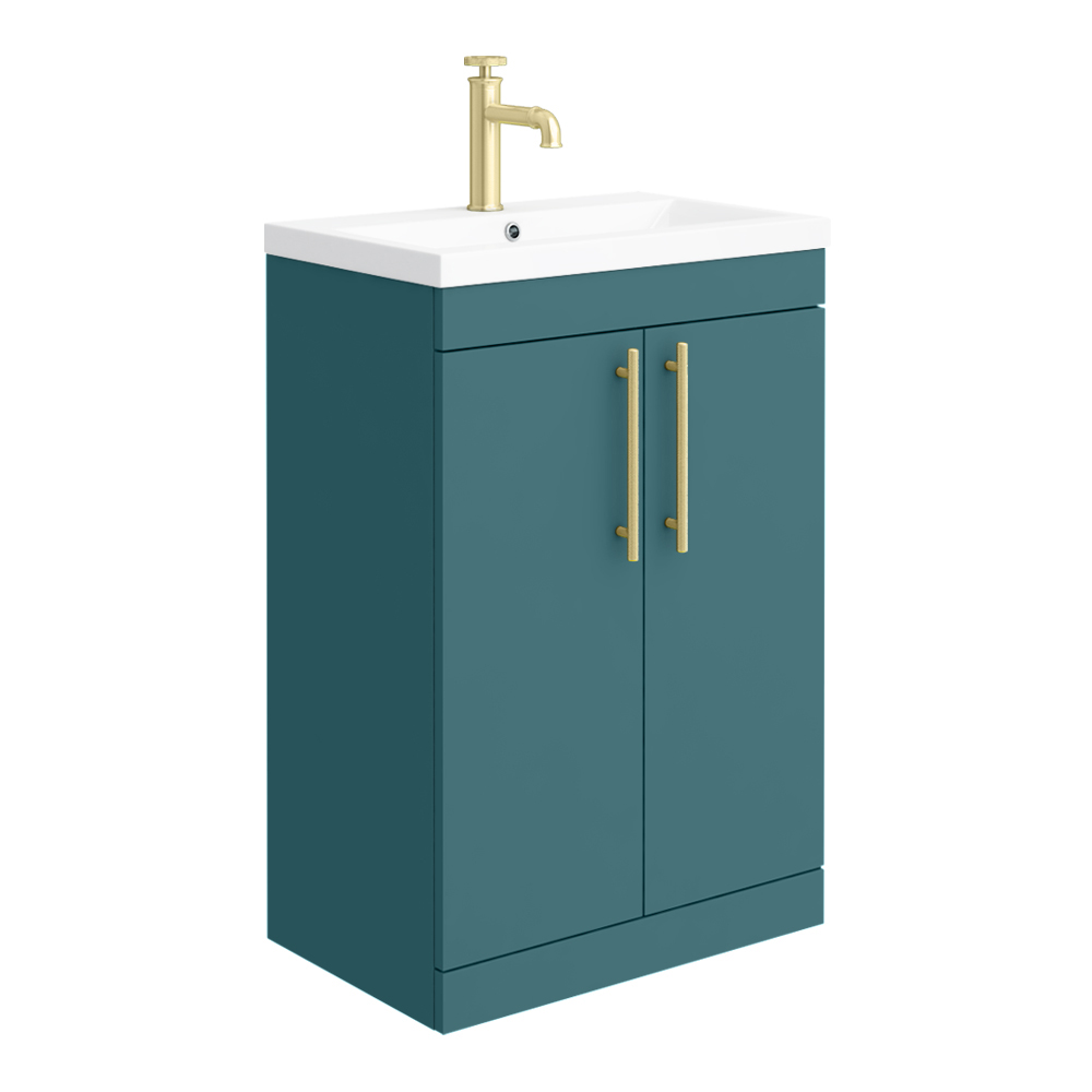 Arezzo Floor Standing Vanity Unit - Matt Green - 600mm with Industrial Style Brushed Brass Handles