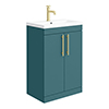 Arezzo Floor Standing Vanity Unit - Matt Green - 600mm with Industrial Style Brushed Brass Handles profile small image view 1