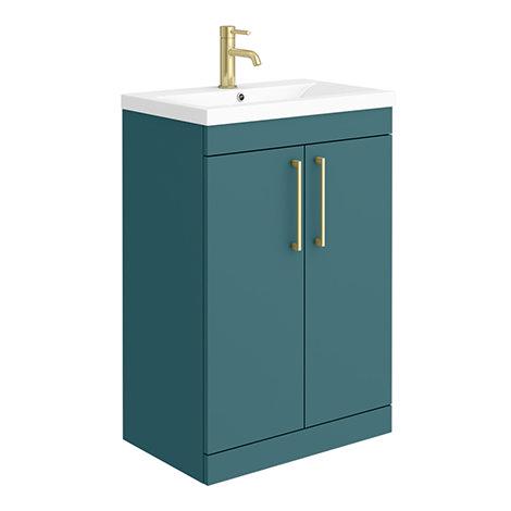 Arezzo 600 Matt Green Floor Standing Vanity Unit with Brushed Brass Handles