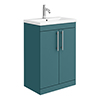 Arezzo Floor Standing Vanity Unit - Matt Green - 600mm with Industrial Style Chrome Handles profile small image view 1
