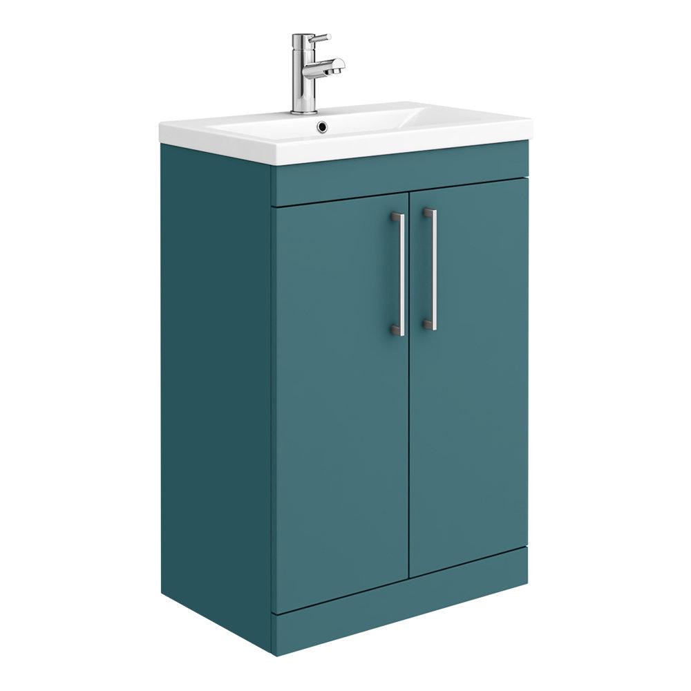 Arezzo 600 Matt Green Floor Standing Vanity Unit with Chrome Handles