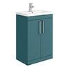 Arezzo 600 Matt Green Floor Standing Vanity Unit with Chrome Handles profile small image view 1