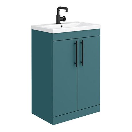 Arezzo Floor Standing Vanity Unit - Matt Green - 600mm with Industrial Style Matt Black Handles