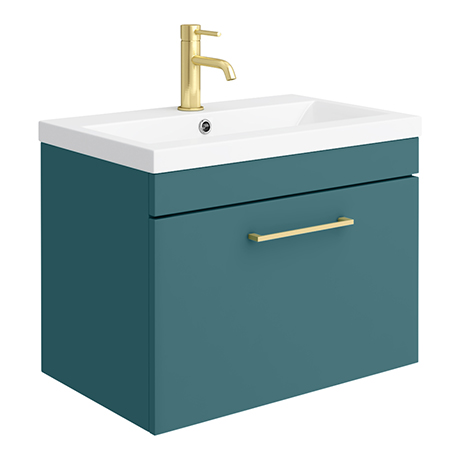 Arezzo Wall Hung Vanity Unit - Matt Green - 600mm 1-Drawer with Brushed Brass Handle