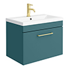 Arezzo Wall Hung Vanity Unit - Matt Green - 600mm 1-Drawer with Brushed Brass Handle profile small image view 1