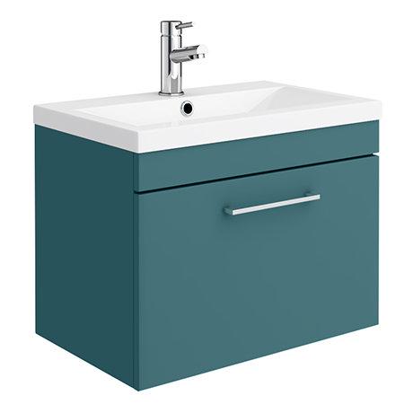 Arezzo Wall Hung Vanity Unit - Matt Green - 600mm 1-Drawer with Chrome Handle