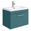 Arezzo Wall Hung Vanity Unit - Matt Green - 600mm 1-Drawer with Chrome Handle profile small image view 1