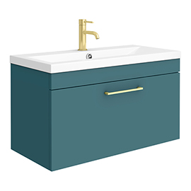 Arezzo Wall Hung Vanity Unit - Matt Green - 800mm with Brushed Brass Handle