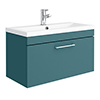 Arezzo Wall Hung Vanity Unit - Matt Green - 800mm with Chrome Handle profile small image view 1