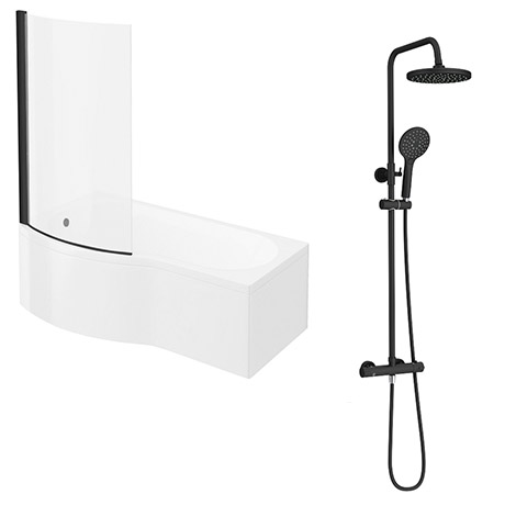 Arezzo Round Matt Black Shower Bath + Exposed Shower Pack (1700 B Shaped with Screen + Panel)