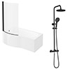 Arezzo Round Matt Black Shower Bath + Exposed Shower Pack (1700 B Shaped with Screen + Panel) profile small image view 1