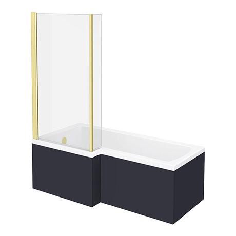 Arezzo Shower Bath - 1700mm L Shaped with Brushed Brass Screen + Matt Blue Panel